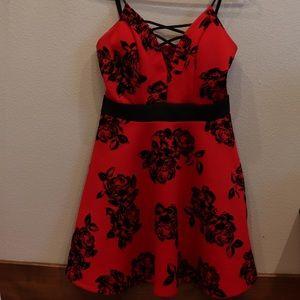 Red and black velvet flower dress